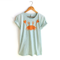 Happy Crab - Hand STENCILED Deep Scoop Neck Pinned Rolled Cuffs Womens Tee in Heather Mint and Orange - S M L XL 2XL 3XL