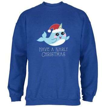 DCCKJY1 Narwhal Have a Narly Gnarly Christmas Mens Sweatshirt