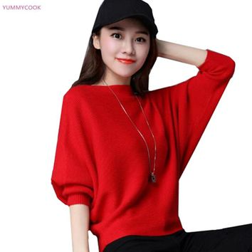 Autumn new sweater bat sleeve sweater female knitting large size loose sweater tops Korean short solid color casual sweater 20