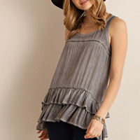 Acid Washed Ruffled Top - Mocha