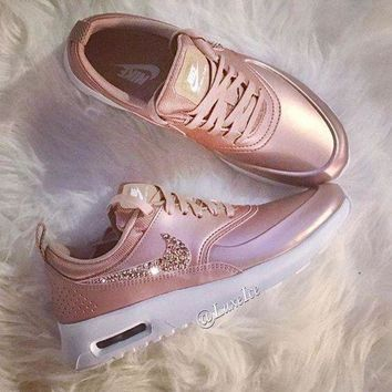 Nike Air Max Trending Glittering Logo Sport Running Sneakers Sport Shoes rose H 8-14