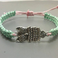 Owl Bracelet, Owl Jewelry, Fashion Jewelry, Costume Jewelry, Macrame Bracelet, Charm Bracelet, Knot Bracelet, Gifts for Teenage Girl