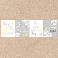 Nursery Art DIY Printable- Bumble Bee & Daisy You Are My Sunshine Wall Art- Grey and Yellow