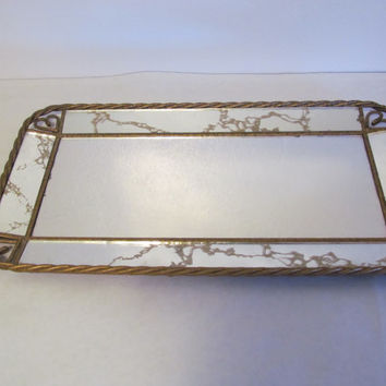 Veined Mirror Vanity Tray