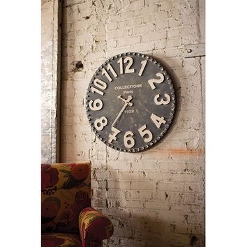 Kalalou CCG1158 Black and White Wooden Wall Clock