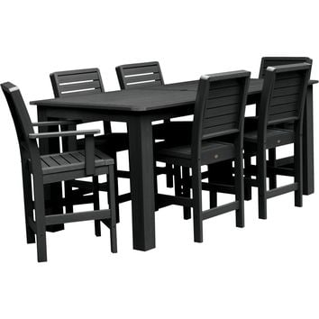 "Highwood Lehigh Weatherly 7pc Rectangular Counter Height Dining Set 84"" x 42"""