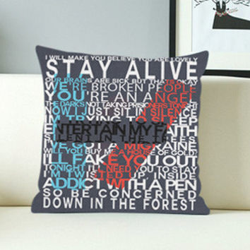 Twenty One Pilots Lyric  - Design Pillow Case with Black/White Color.