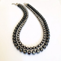 Multi Strand Black Necklace Beaded Black Silver Necklace Black Statement Necklace Beaded Geometric Necklace Beaded Contemporary Necklace