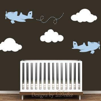 Wall Decals for Nursery with Clouds and Airplanes