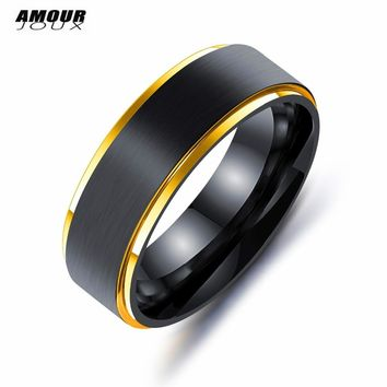 AMOURJOUX 2018 Titanium Ring 7mm Black  With Gold/Color Side 316L Stainless Steel Wedding Rings For Men Fashion Male Party Ring