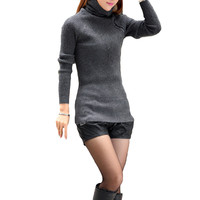 Gray Button Turtleneck  Long Sleeve Knitted Pullover Sweater