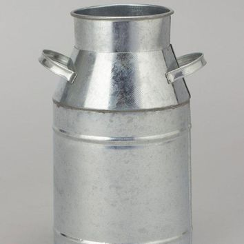 "Metal Milk Can in Silver - 7.5"" Tall x 5"" Wide"