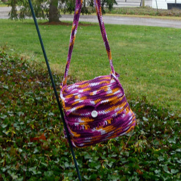 Messenger Bag/Purse - Crochet Multi Color