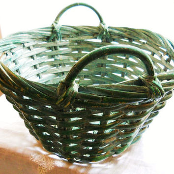 Aqua Blue Green Painted Country Rustic Primitive Vintage Splint Bamboo Wicker Gathering Storage Basket w/ Handles