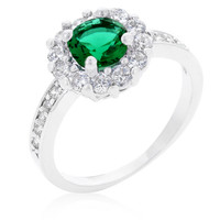 Belle Emerald Green Halo Engagement Cocktail Ring | 2.5ct | Cubic Zirconia | Silver