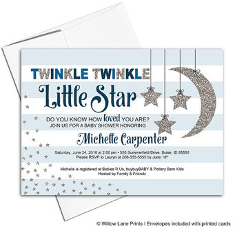 Twinkle twinkle little star baby shower invites | baby boy shower invitation moon and stars | printable or printed | - WLP00759