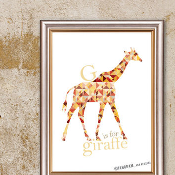 Geometric Art Baby Boy Nursery & Baby Girl too. Baby Poster WALL DECOR, G is for Giraffe Poster Art, Alphabet ABC Educational A3