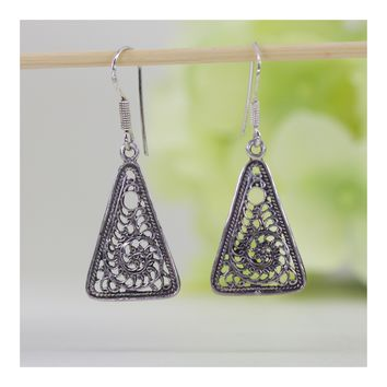Filigree Triangle-Shaped Dangle Earrings in High Polish Sterling Silver