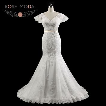 Rose Moda Chantilly Lace Mermaid Wedding Dress Cap Sleeves V Neck Lace Wedding Dresses with Sash Lace Up Back