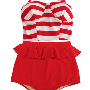Red/White Stripe Long Top and Red Peplum Retro Vintage High Waist Waisted Pants Bottom Swimsuit Swimsuits Swimwear Bikini 2PC Beach Suit S M