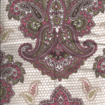 Flannel Fabric, Damask Print, Pink Cream Green, 1/2 Yard, More Yardage Available
