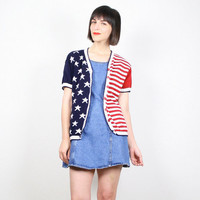Vintage 90s Sweater Red White Blue Cardigan American Flag Sweater Patriotic Americana Stars And Stripes Knit Jumper Top M Medium L Large