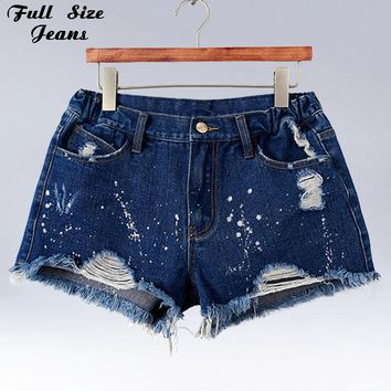 Plus Size Blue Denim Shorts 4Xl Xl 5Xl Sexy Women Summer Hole Destroyed Shorts Jeans Oversized Casual Jeans Short Feminino
