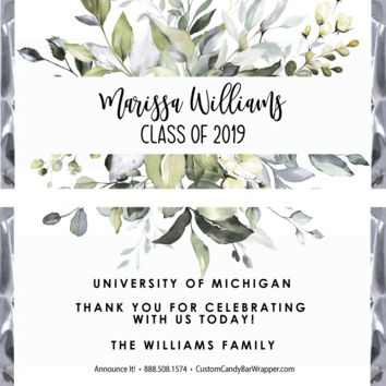 Greenery Graduation Candy Bar Wrappers
