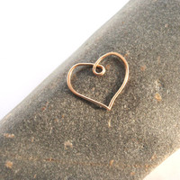 Gold Heart Cartilage Hoop 21 gauge 16mm wide Gold Filled