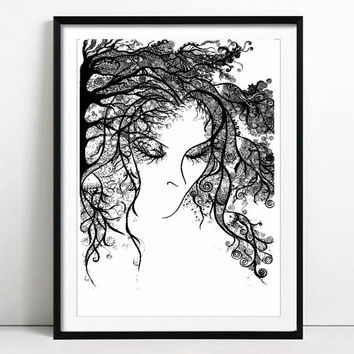 Thinking Of You, Portrait of a Lady, Pen and Ink Art, Prinf of Original Drawing, Detail Drawing Art, Abstract Ink Drawing