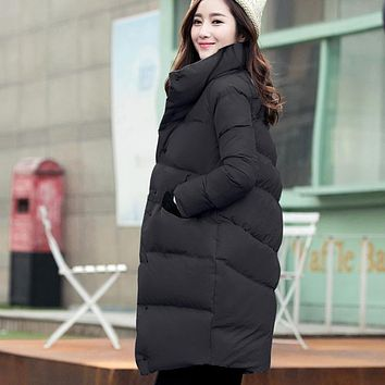 Loose Thick Winter Women Jackests Stand Collar Warm Chic Medium Long Female Coats Plus Size Korea Thermal Outwear Cloth MY0134