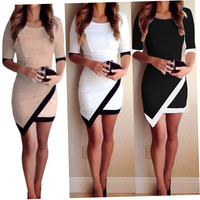 Women Short Summer Slim Dress Ladies Half Sleeve Sheath Asymmetrical Patchwork Casual Cocktail Party Dress Hot Selling