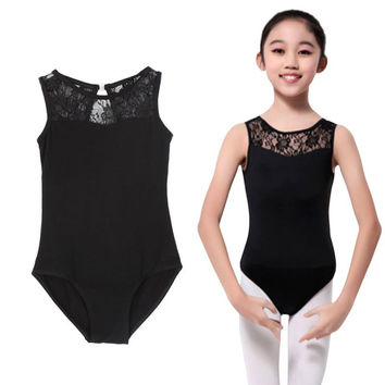 Cotton Lycra Lace Black Tank Dance Leotard with Open Back Girls Ballet Dancewear Ladies Costume Bodysuit