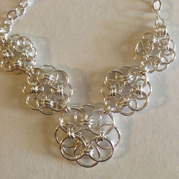 Silver necklace, chain mail necklace, woven necklace, silverbymaggie, gifts for her, graduated necklace, chain necklace, fashion jewelry