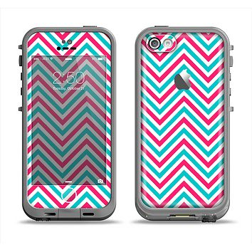 The Blue & Pink Sharp Chevron Pattern Apple iPhone 5c LifeProof Fre Case Skin Set