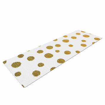 "Nika Martinez ""Golden Dots"" White Yellow Yoga Mat"