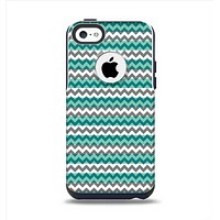The Vintage Green & White Chevron Pattern V4 Apple iPhone 5c Otterbox Commuter Case Skin Set