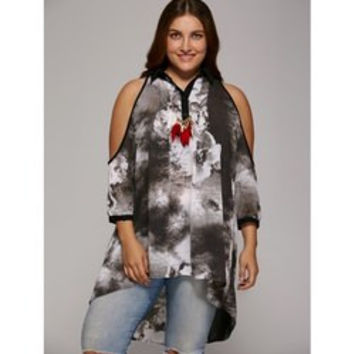 Plus Size Cold Shoulder Ink Painting Blouse