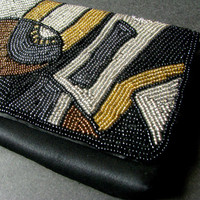 Beaded VIntage Geometric Pattern Clutch - Retro 1980s Fashion Accessory, Metallic Colored Seed Beads - Simple Evening Purse