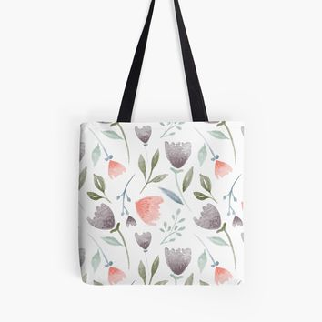 'Watercolor Florals' Tote Bag by stefiijuliette