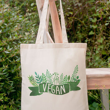 Vegan tote bag-grocery tote bag-veganism bag-gift for mom-custom tote bag-nature bag-vegetarian tote bag-nature bag-NATURA PICTA-NPTB095