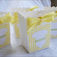 Baby Shower Favor Box, Popcorn Style, Gender Neutral, Yellow Gingham With Onesuit, Satin Bow, Candy Holder, Dessert Bar Supply, Set Of 20