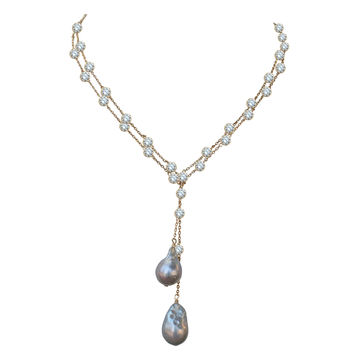 Zirconite by the Yard finished with two extra large genuine Baroque Fresh Water Pearls Necklace lariat.