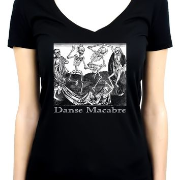 The Dance Of Death Danse Macabre Women's V-Neck Shirt Top Skeletons