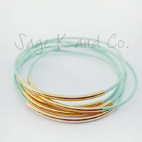 Mint Leather And Gold Tube Bangle Bracelet- Mint, Yellow, Turquoise, Gray, Pink, White and Black