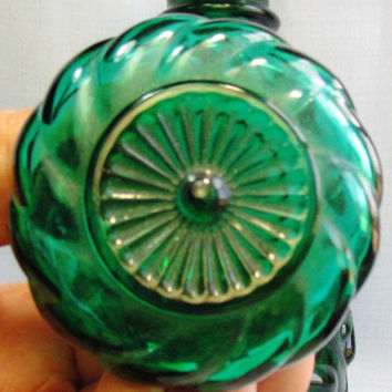 Vintage Jim Beam Green Glass Decanter (Empty)