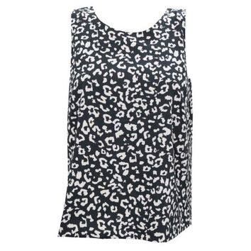 Mogul Women's Summer Top Black & White Sleeveless Cut Out Back Blouse Shirt - Walmart.com