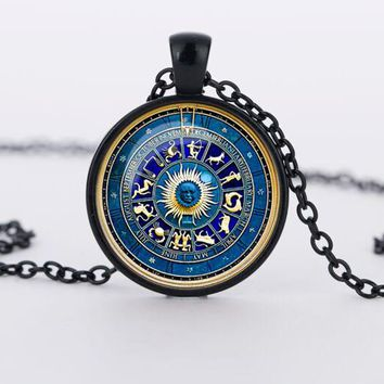 Pendant Necklaces Novelty Zodiac Sign Jewelry Gift Glass.