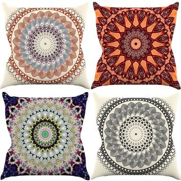 Comwarm Psychedelic Boho India Mandala Flower Vintage Plaid Printed Cotton Linen Pillow for Sofa Car Seat Cushion Home Decor Art