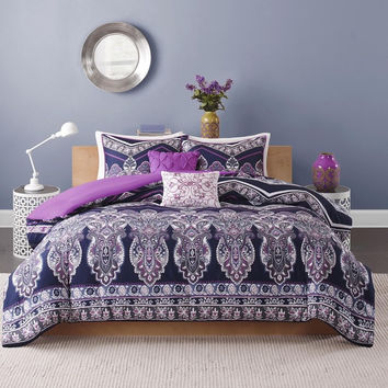 The Kelsie Bohemian Purple 5 PC Comforter SET